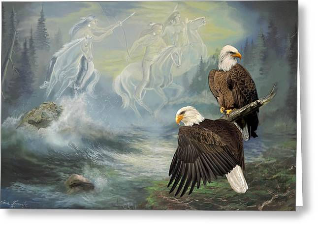 Stream Greeting Cards - Eagels and Native American  Spirit Riders Greeting Card by Gina Femrite
