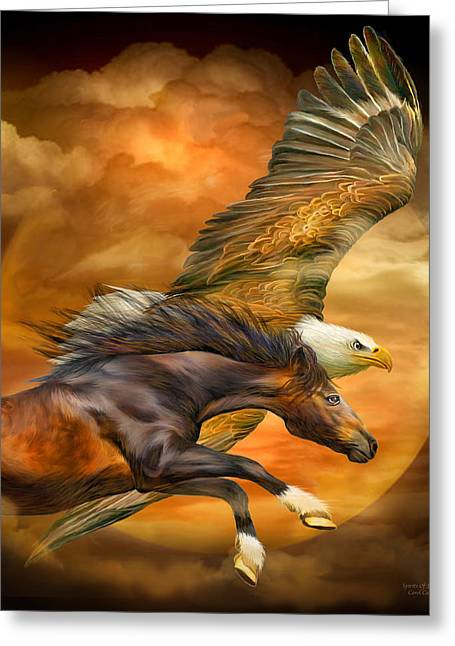 Eagle And Horse - Spirits Of The Wind Greeting Card by Carol Cavalaris