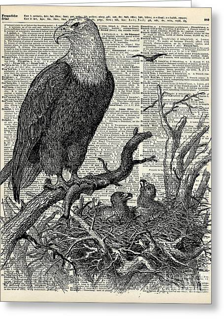 Digital Media Drawings Greeting Cards - Eagle and its nest  Greeting Card by Jacob Kuch