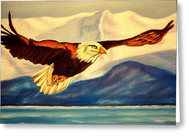Eagles Pastels Greeting Cards - Eagle and Mountains Greeting Card by Jay Johnston
