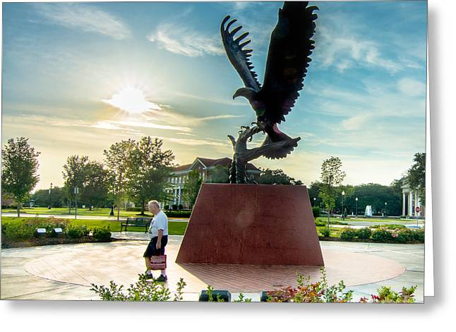 Universities Tapestries - Textiles Greeting Cards - Eagle attacks Man Greeting Card by James Hennis