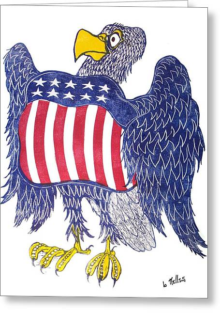 Linoleum Block Print Greeting Cards - Eagle Greeting Card by Barry Nelles Art