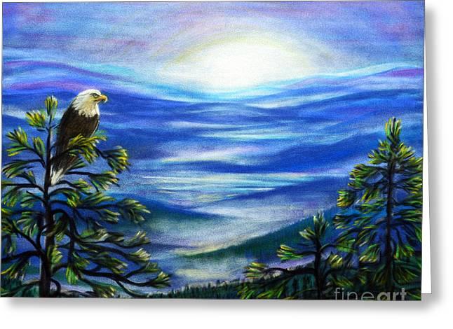 Eagle Pastels Greeting Cards - Eagle Blue Ridge Mountain Sunrise Greeting Card by Patricia L Davidson