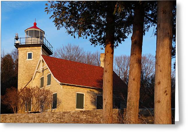 Eagle Bluff Lighthouse Greeting Cards - Eagle Bluff Lighthouse at Sunset Greeting Card by David T Wilkinson