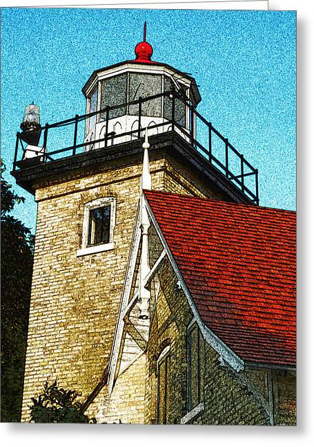 Eagle Bluff Lighthouse Greeting Cards - Eagle Bluff Lighthouse Re-imagined Greeting Card by David T Wilkinson