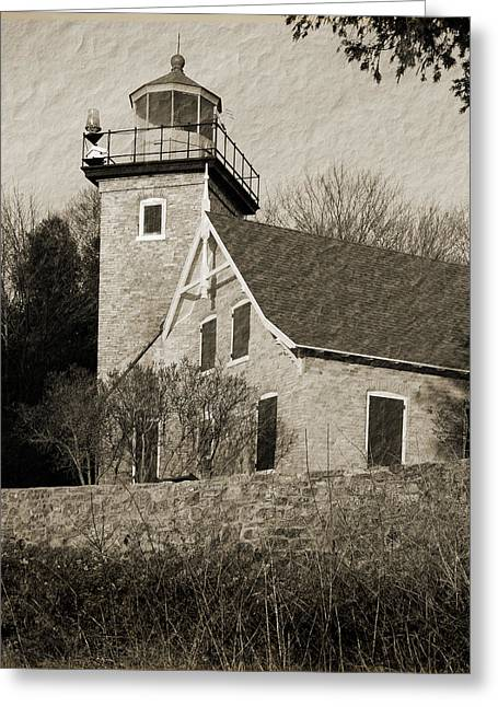 Eagle Bluff Lighthouse Greeting Cards - Eagle Bluff Lighthouse Sepia Greeting Card by David T Wilkinson