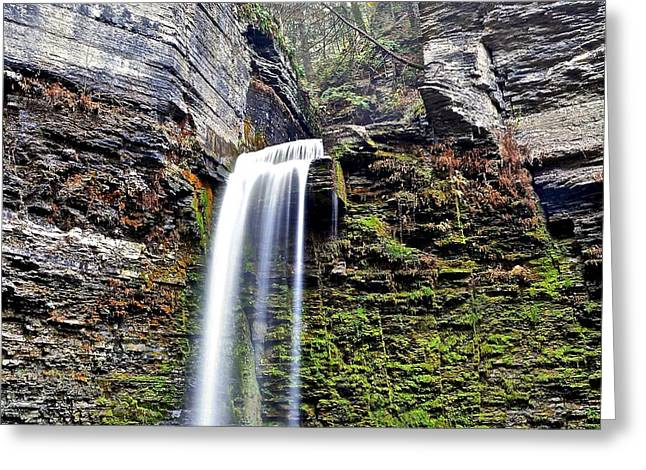 Cliffs And Water Greeting Cards - Eagle Cliff Falls Greeting Card by Frozen in Time Fine Art Photography