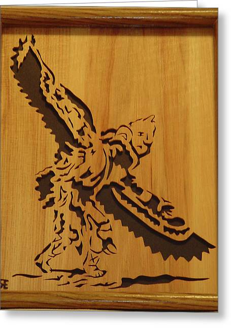 Saw Sculptures Greeting Cards - Eagle Dancer Greeting Card by Russell Ellingsworth