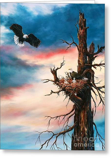 Eagle Family Greeting Card by Jean Harrison