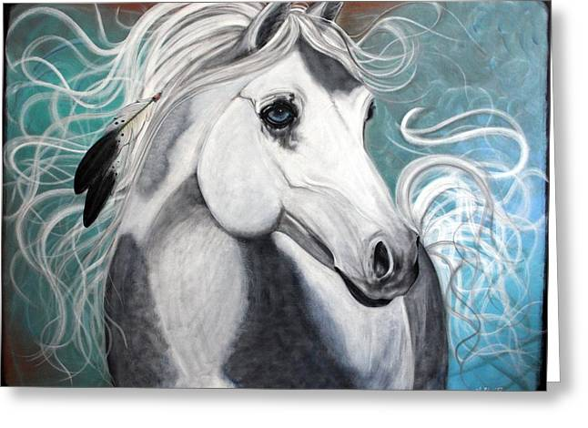 Quarter Horses Greeting Cards - Eagle Feathers Greeting Card by Laura Barbosa
