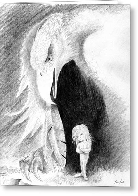 Best Sellers -  - Pajamas Greeting Cards - Eagle Guardian Greeting Card by Sean Seal
