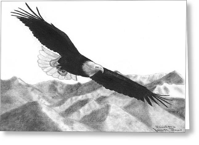 Isaiah Drawings Greeting Cards - Eagle Greeting Card by James M Thomas