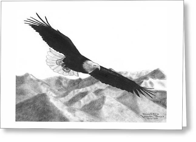 Renewing Drawings Greeting Cards - Eagle Greeting Card by James M Thomas