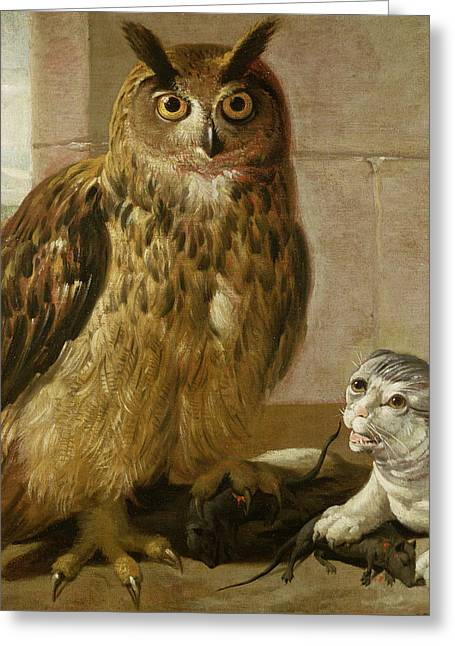 Eagle Owl And Cat With Dead Rats Greeting Card by Johann Heinrich Roos