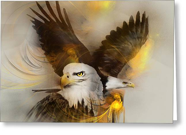 Jackie Flaten Greeting Cards - Eagle Pair Greeting Card by Jackie Flaten