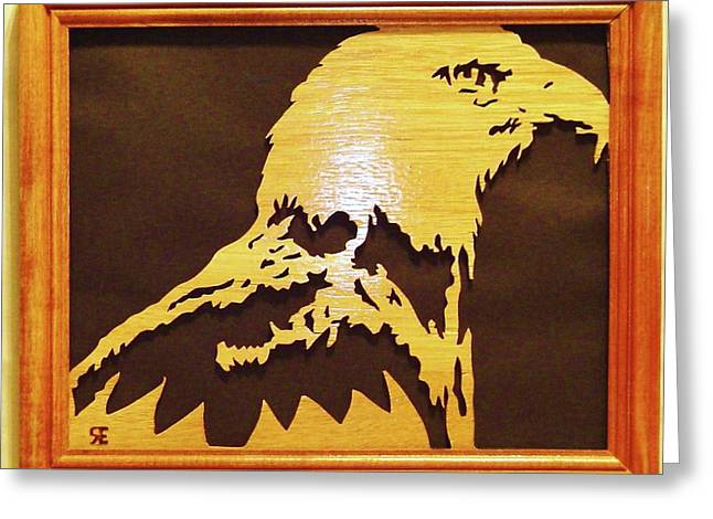 Saw Sculptures Greeting Cards - Eagle Greeting Card by Russell Ellingsworth
