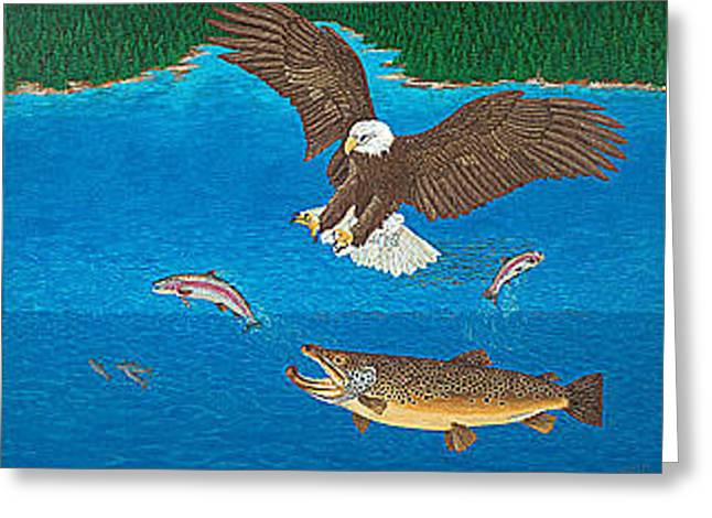 Brown Trout Greeting Cards - Eagle Trophy Brown Trout Rainbow Trout Art Print Blue Mountain Lake Artwork Giclee Birds Wildlife Greeting Card by Baslee Troutman