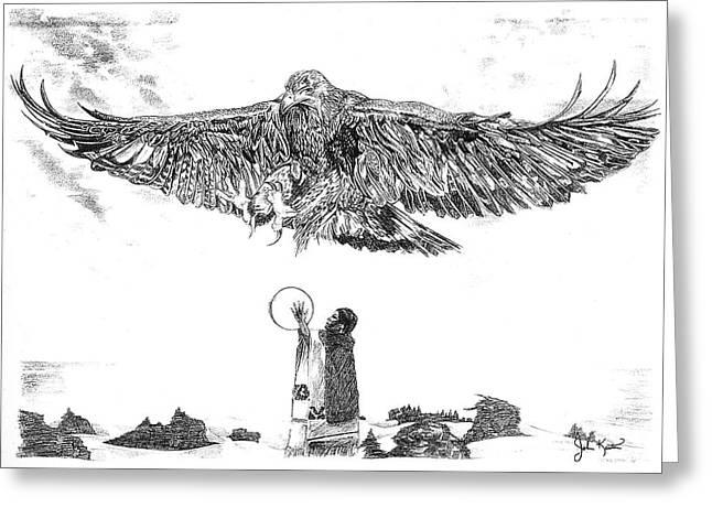 Eagle Visit Greeting Card by John Keaton