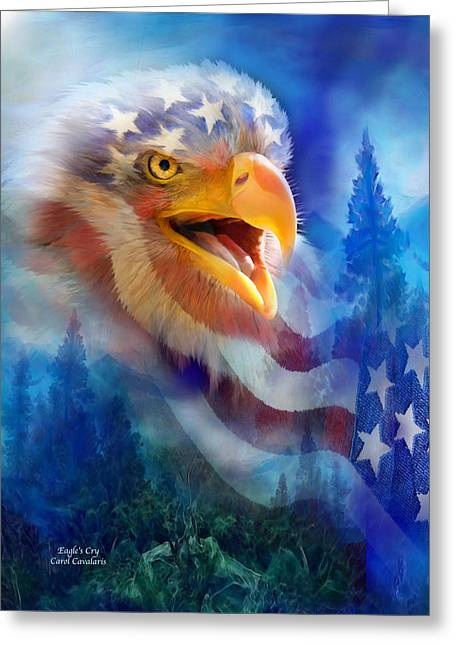Patriotic Art Greeting Cards - Eagles Cry Greeting Card by Carol Cavalaris