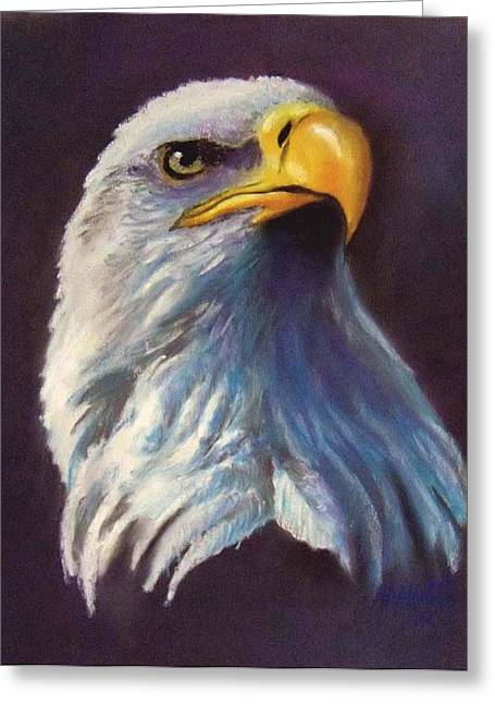 Bald Eagle Pastels Greeting Cards - Eagles head-2 Greeting Card by Marcus Moller