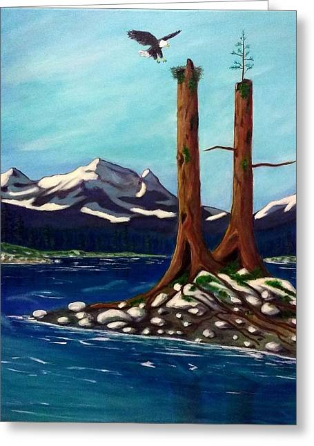 Eagle's Nest Greeting Card by John Lyes