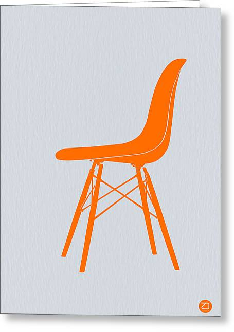 Watches Greeting Cards - Eames Fiberglass Chair Orange Greeting Card by Naxart Studio