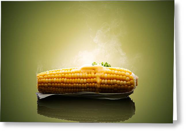Studio Shots Greeting Cards - Ear of Corn with hot melting butter Greeting Card by Johan Swanepoel
