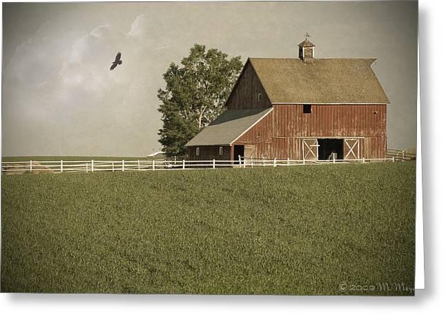 Old Barns Mixed Media Greeting Cards - Early AM Barn Greeting Card by Melisa Meyers