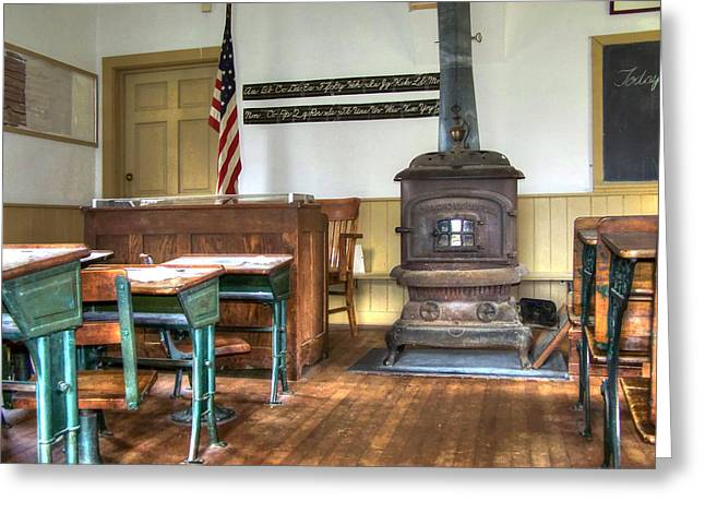 Country Schools Digital Greeting Cards - Early American Schoolroom Greeting Card by Robert Nelson