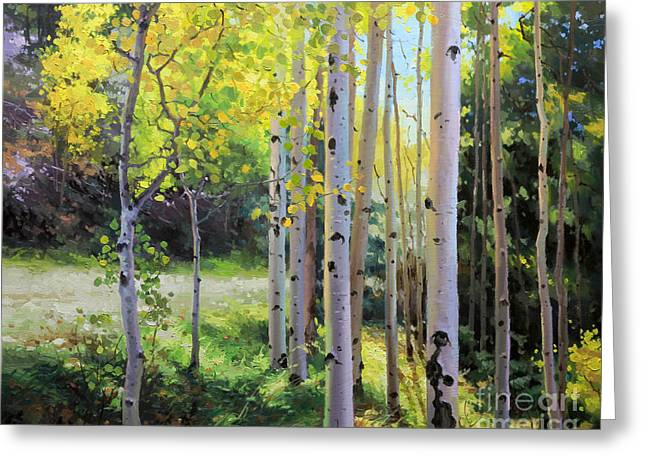 National Paintings Greeting Cards - Early Autumn Aspen Greeting Card by Gary Kim
