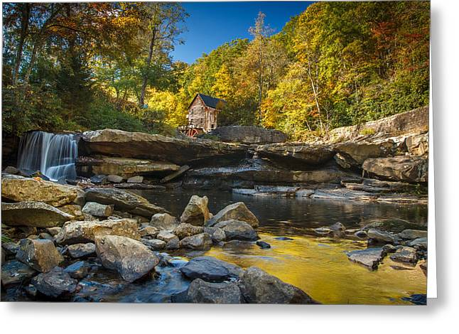 Grist Greeting Cards - Early Autumn at Glade Creek Grist Mill 2 Greeting Card by Shane Holsclaw