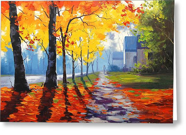 Autumn Prints Paintings Greeting Cards - Early Autumn Light Greeting Card by Graham Gercken