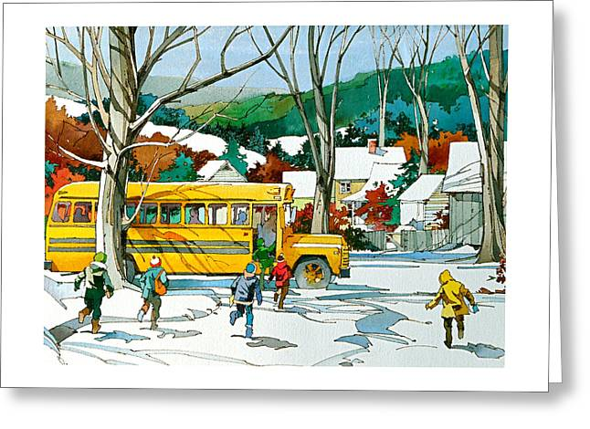 Early Bus Greeting Card by Art Scholz