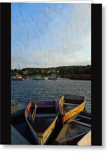Boats In Water Greeting Cards - Early Evening At The Cove Il Greeting Card by Harriet Harding