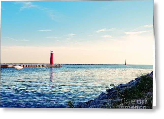 Lake House Greeting Cards - Early Evening at the Lighthouse Greeting Card by Emily Kay