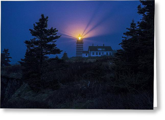 Maine Lighthouses Greeting Cards - Early Evening Fog at West Quoddy Head Lighthouse Greeting Card by Marty Saccone