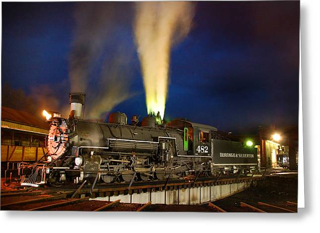 Narrow Gauge Steam Train Greeting Cards - Early Evening on the Turntable Greeting Card by Ken Smith