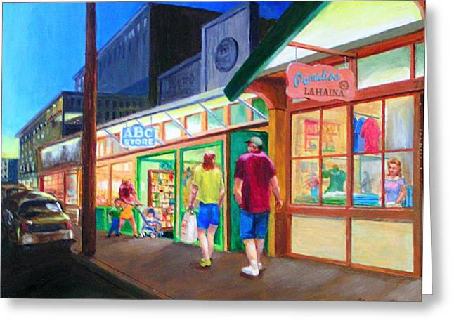 Early Evening Shoppers Greeting Card by Bob Newman