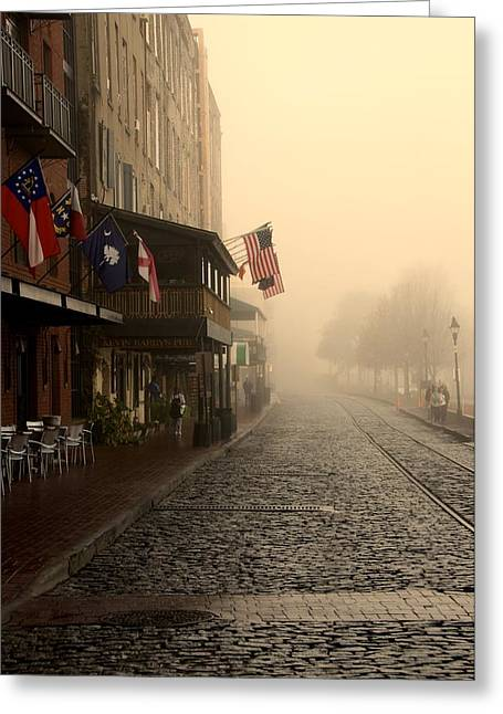 Savannah Photography Greeting Cards - Early Fog on River Street Greeting Card by Leslie Lovell