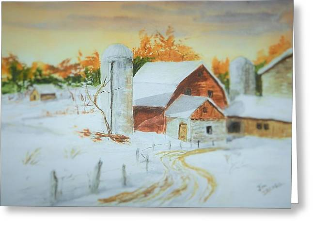 Maine Farms Paintings Greeting Cards - Early Light Greeting Card by Jim Decker