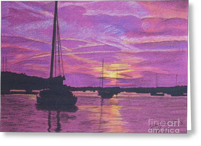 Maine Landscape Drawings Greeting Cards - Early Morn in Maine Greeting Card by Tobi Czumak