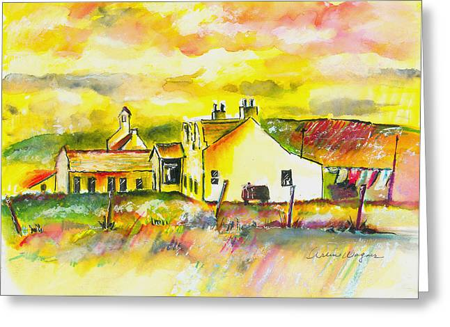 Barns Greeting Cards - Early Morning Greeting Card by Arline Wagner