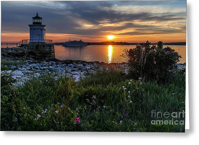 Maine Lighthouses Greeting Cards - Early Morning Arrival in Portland Greeting Card by Joe Far Photos