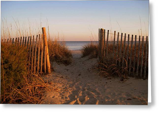 Early Morning Sun Greeting Cards - Early Morning at Myrtle Beach SC Greeting Card by Susanne Van Hulst