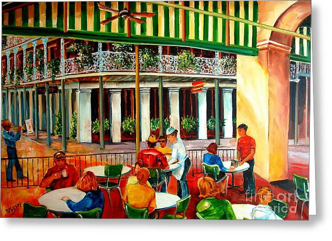 Corner Greeting Cards - Early Morning at the Cafe Du Monde Greeting Card by Diane Millsap