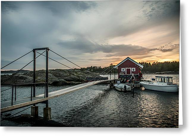 Norway Harbor Greeting Cards - Early Morning At The Dock - Norway Greeting Card by Nicolai Berntsen