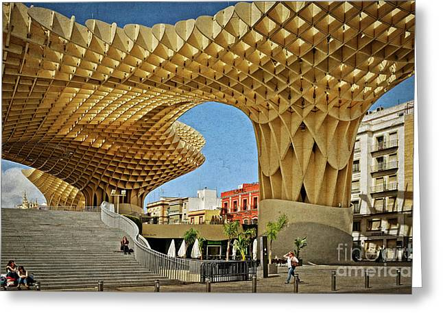 Early Morning At The Plaza Encarnacion - Seville Greeting Card by Mary Machare