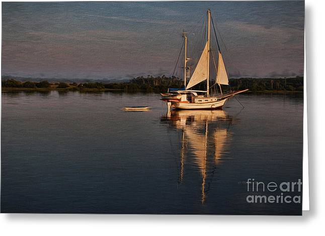 Dingy Greeting Cards - Early Morning Augustine Light Greeting Card by Deborah Benoit