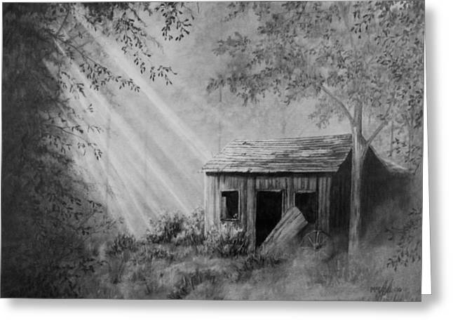 Old Barn Drawing Greeting Cards - Early Morning Cabin Greeting Card by Stephen McCall