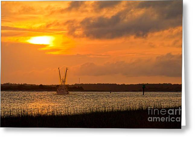 Reflecting Water Greeting Cards - Early Morning Catch Greeting Card by Jemmy Archer